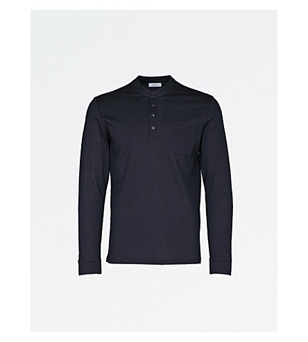 REISS Rothbury cotton-piqué top (Navy