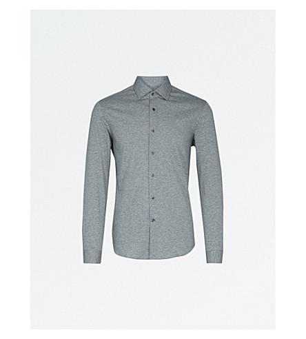 REISS Hilson slim-fit cotton shirt (Grey+marl