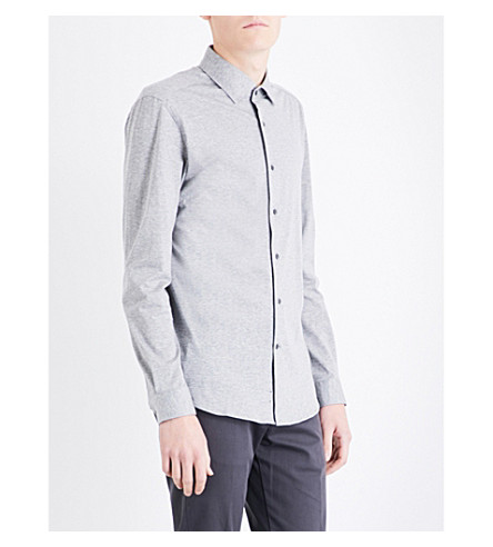 REISS Hilson slim-fit cotton shirt (Grey+marl