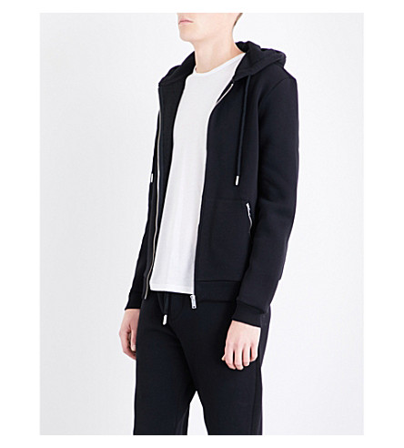REISS Avery jersey hoody (Black