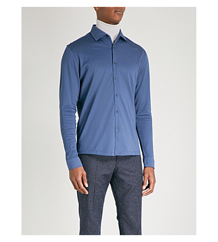 REISS Jason regular-fit cotton-piqué shirt (Airforce+blue