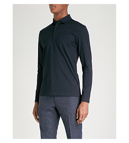 REISS Santie cotton-piqué polo top (Navy