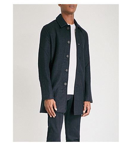 REISS Roscoe wool and cotton-blend coat (Navy