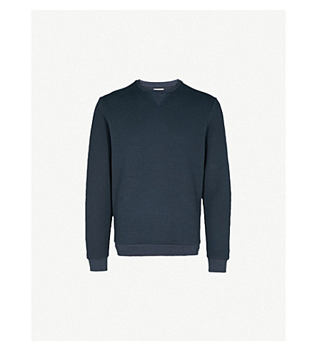 REISS Grange cotton-blend sweatshirt (Navy