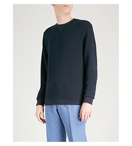 REISS Grange cotton-blend sweatshirt (Navy