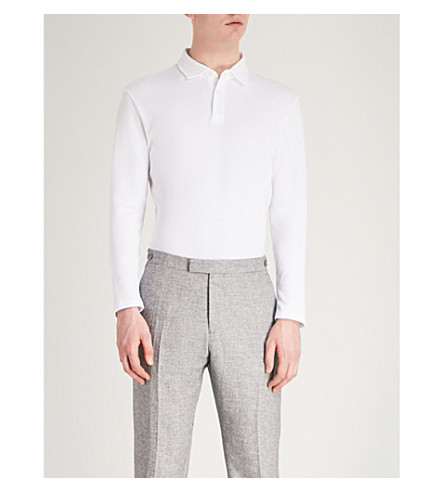 REISS Cliff textured knitted polo shirt (White