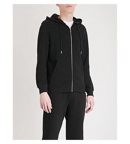 REISS Boyd cotton-jersey hoody (Washed+black