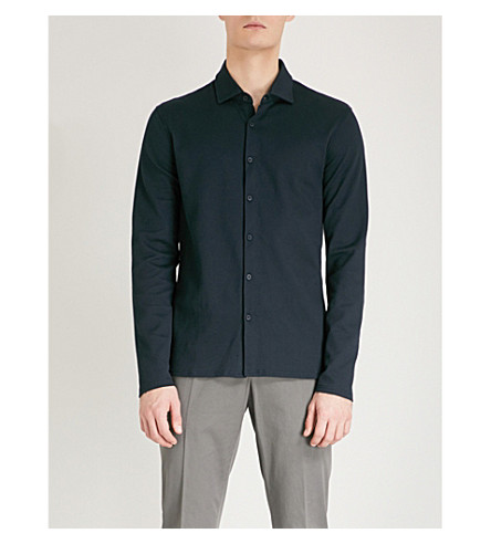 REISS East slim-fit knitted shirt (Navy