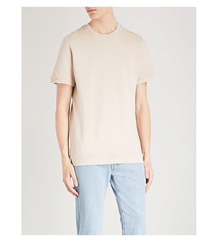 REISS Felix short-sleeved cotton-jersey sweatshirt (Stone