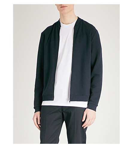 REISS Kem quilted cotton-jersey bomber jacket (Navy