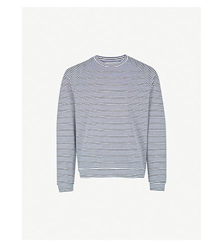 REISS Moston striped crewneck woven sweatshirt (Navy