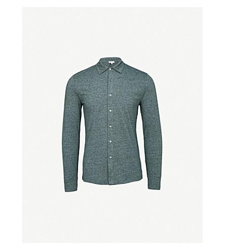 REISS Oliver melange cotton-blend shirt (Green