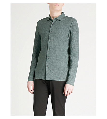 REISS Oliver melange cotton-blend shirt (Green
