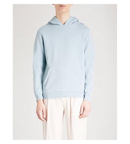 REISS Ruben cotton-jersey hoody (Soft+blue