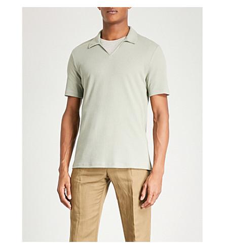 REISS Starlight ribbed-cotton polo shirt (Green