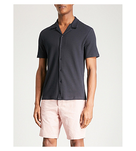 REISS Butler ribbed-cotton shirt (Navy