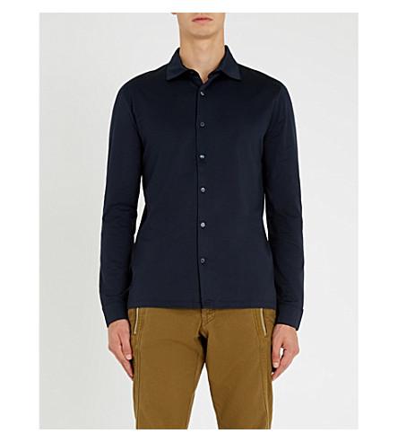 REISS 章常规版型 mercerised 棉衬衫 (海军