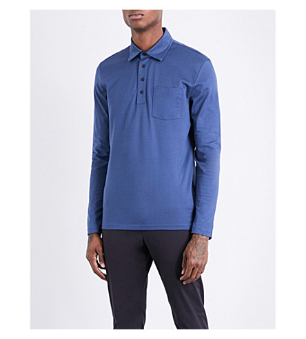 REISS Santi cotton-piqué long-sleeved polo shirt (Airforce+blue