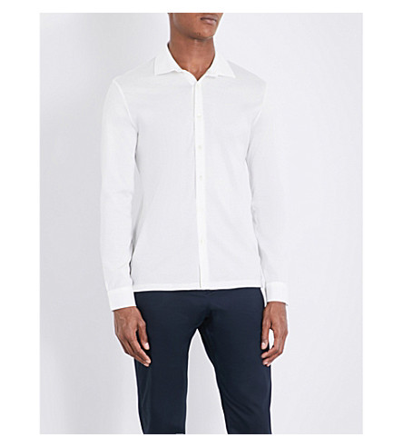 REISS Chapter slim-fit cotton shirt (Off+white