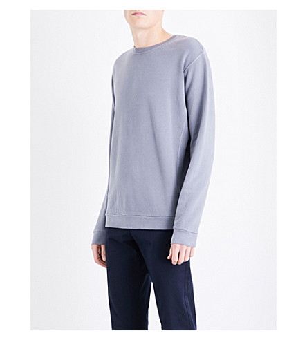 REISS Fenton pure cotton crewneck sweatshirt (Blue+smoke