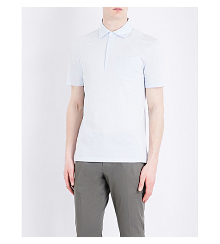 REISS Spirito cotton-jersey polo shirt (Soft+blue