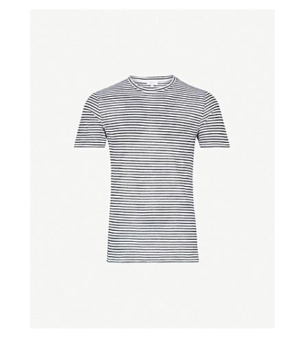 REISS Dobcot striped woven T-shirt (Ecru