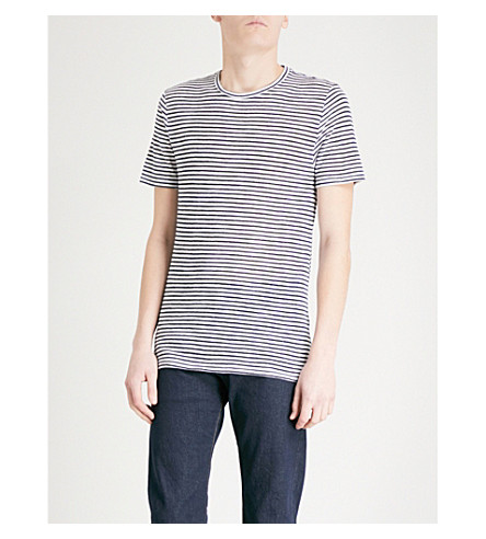 REISS Dobcot striped woven T-shirt (Ecru