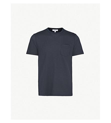 REISS Durham textured knitted T-shirt (Navy