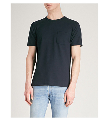 REISS Durham textured knitted T-shirt (Navy