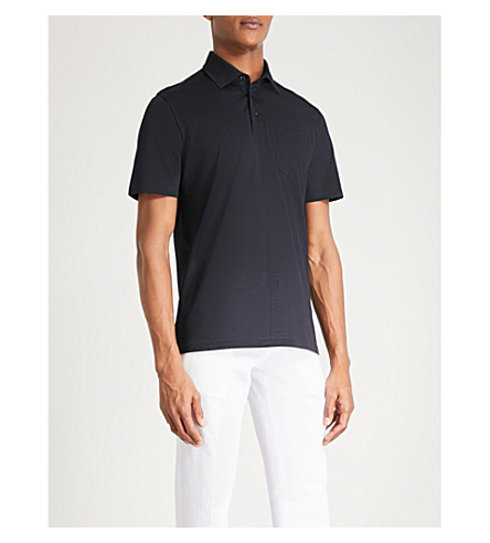 REISS Daniel cotton-piqué polo shirt (Navy