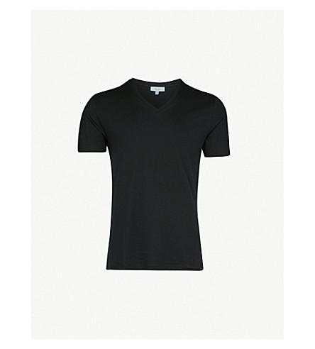 REISS Dayton V-neck cotton-jersey T-shirt (Black