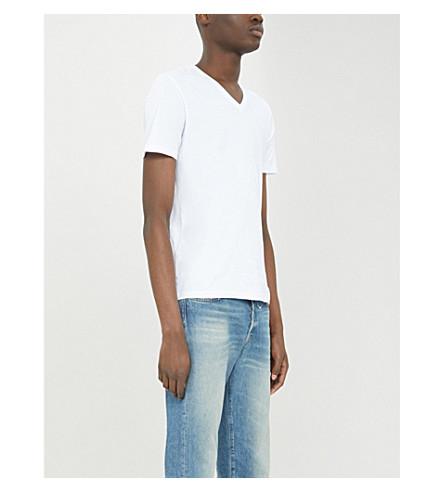 REISS Dayton V-neck cotton-jersey T-shirt (White