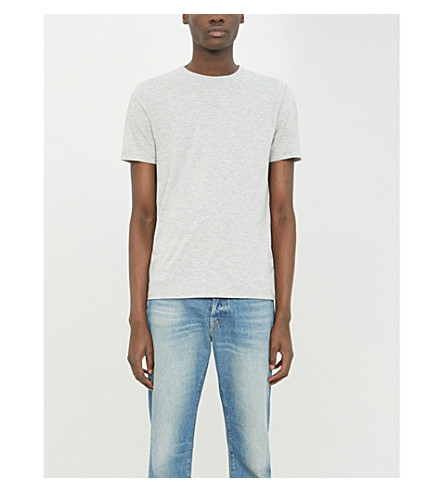 REISS Bless cotton-blend T-shirt (Grey+marl
