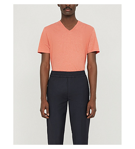 REISS Dayton v-neck cotton-blend T-shirt (Burnt+coral