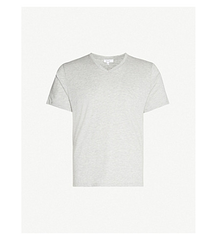 REISS Dayton v-neck cotton-blend T-shirt (Grey+marl