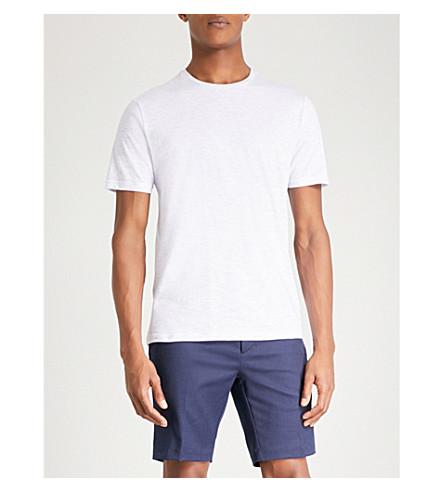 REISS Marl-pattern cotton T-shirt (Ecru/soft+blue