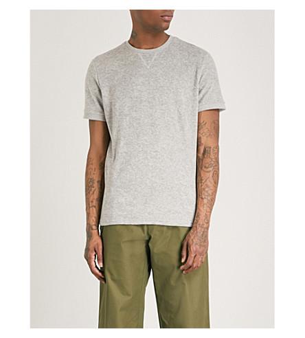 REISS Terry cotton-blend T-shirt (Grey