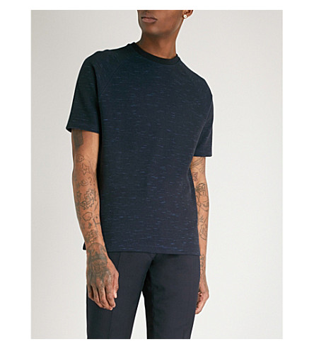 REISS Golden marl cotton-blend T-shirt (Navy