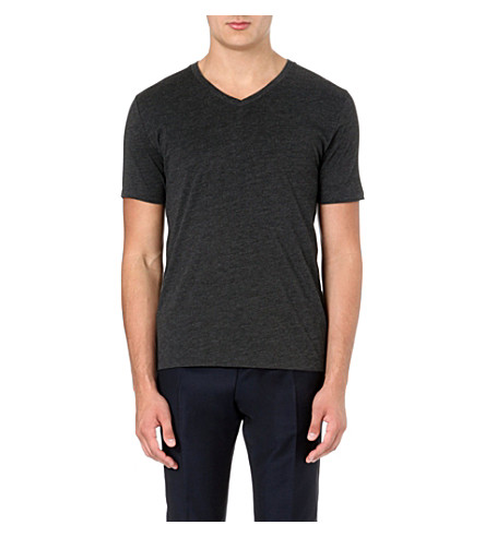 REISS Dayton v-neck t-shirt (Black/marl