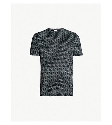 REISS 泰恩几何印刷棉混纺 T 恤 (海军