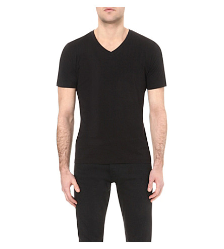 REISS Dayton V-neck cotton-jersey T-shirt (Black