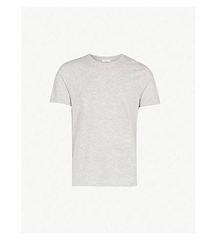 REISS Bless marl-effect cotton-blend T-shirt (Grey+melange