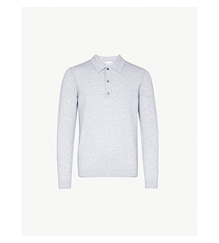 REISS Cheviot wool and cashmere-blend jumper (Soft+grey