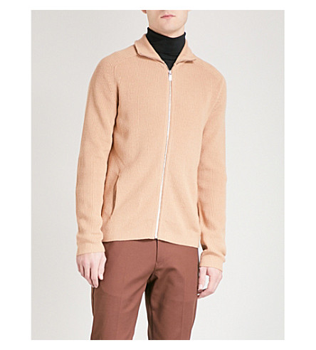 REISS Toby waffle-knit wool-blend cardigan (Camel