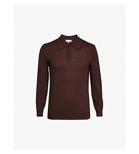 REISS Trafford long-sleeved merino wool polo shirt (Bordeaux