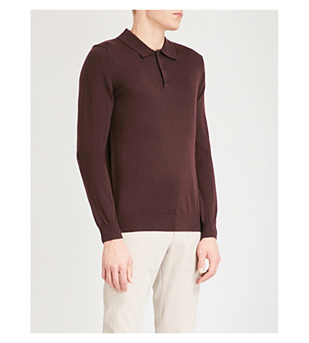 REISS Trafford long-sleeved merino wool polo shirt (Bordeaux