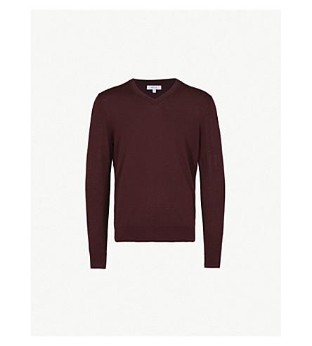 REISS Earl merino wool jumper (Bordeaux