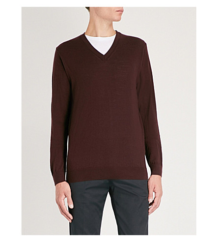 REISS Earl merino wool jumper (Bordeaux