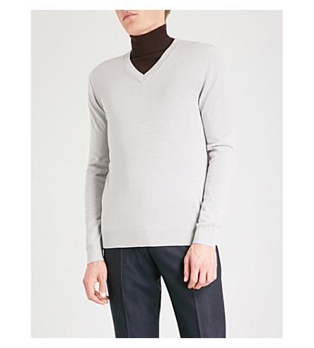 REISS Earl merino wool jumper (Dove+grey