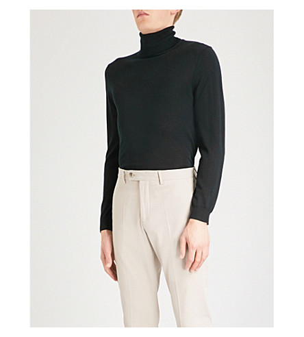 REISS Olive wool turtleneck jumper (Black